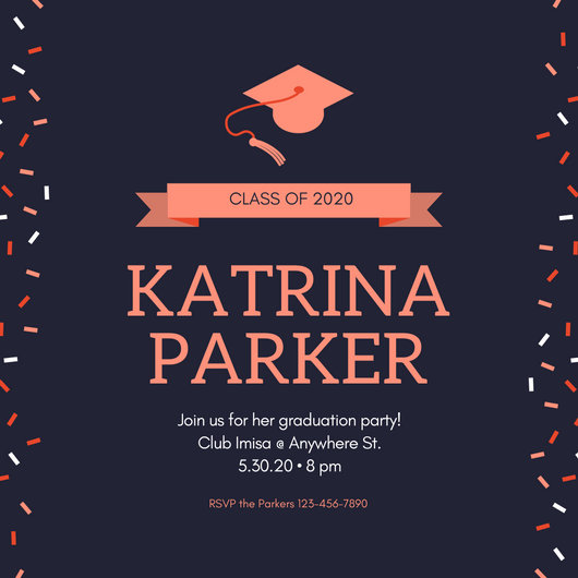 Blue and Maroon Confetti Graduation Party Invitation - Templates by