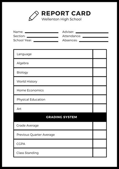 book report template for high school