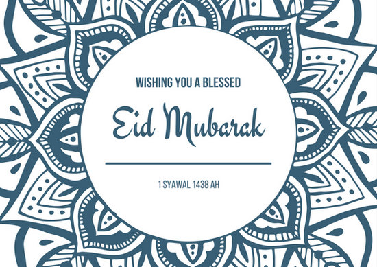 Blue White Mandala Eid Mubarak Lebaran Card - Templates by Canva