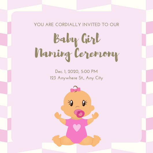 Pink Gold Cute Baby Girl Naming Ceremony Invitation - Templates by Canva