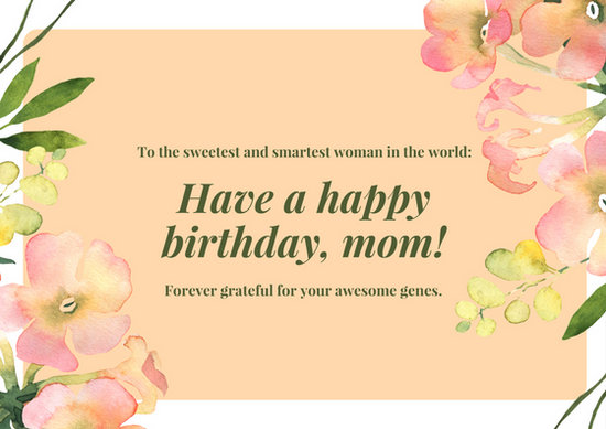 Pink Green Floral Mother Birthday Card - Templates by Canva