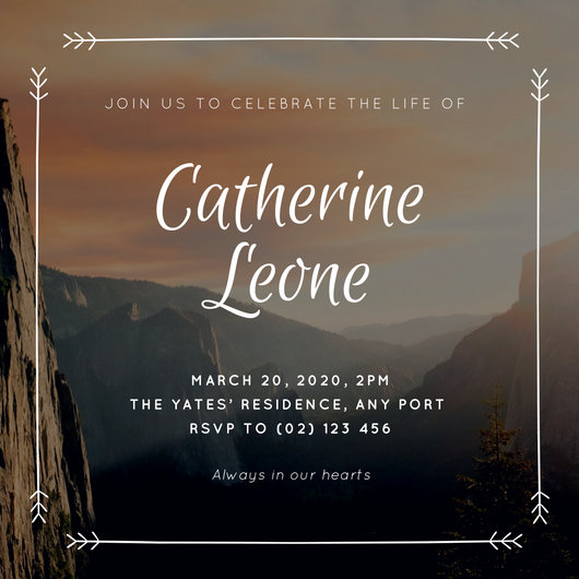 Mountain Landscape Celebration of Life Invitation - Templates by Canva