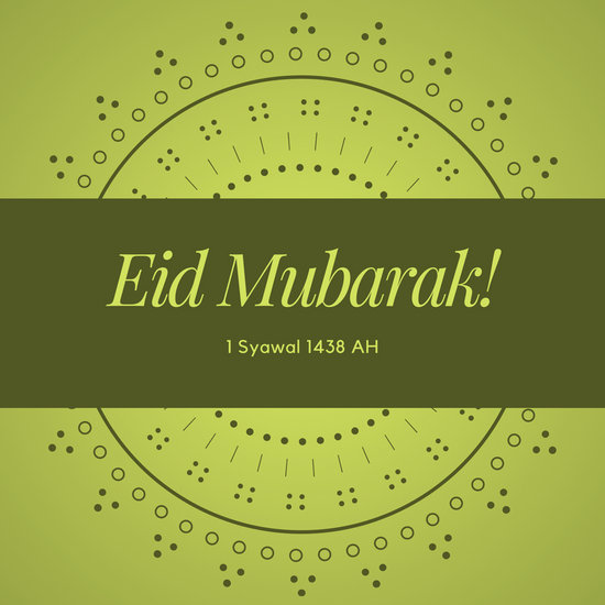 Green Eid Mubarak Lebaran Social Media Graphic - Templates by Canva