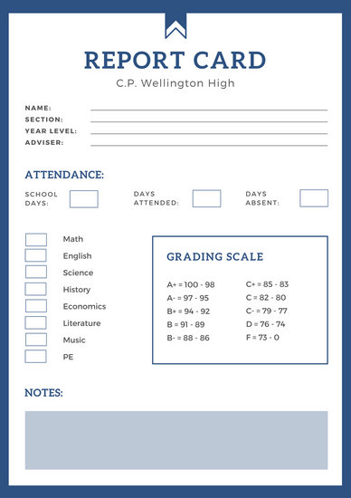 Blue Simple High School Report Card - Templates by Canva