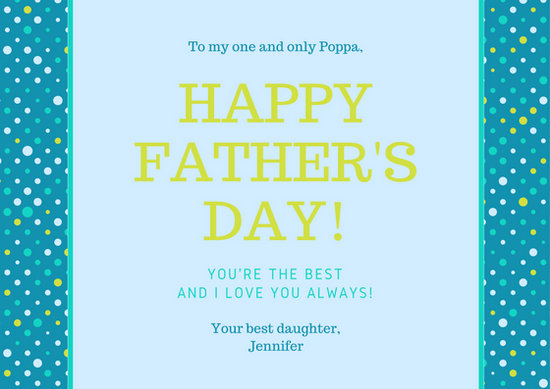 Blue Polka Dots Fathers Day Card - Templates by Canva