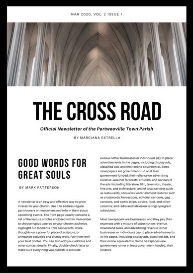 Black and White Minimalist Church Newsletter - Templates by Canva - church newsletter