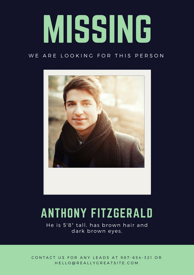 Blue Polaroid Missing Person Poster - Templates by Canva - missing reward poster template