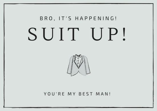 Simple Suit Icon Best Man Wedding Card - Templates by Canva - wedding card template