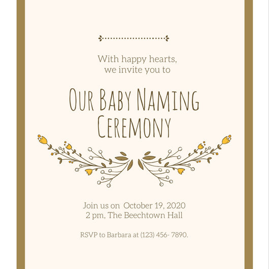 Gold Baby Naming Ceremony Invitation - Templates by Canva - funeral ceremony invitation