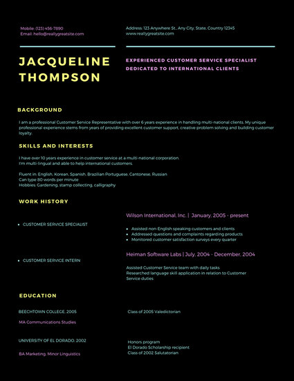 Black with Colorful Customer Service Resume - Templates by Canva
