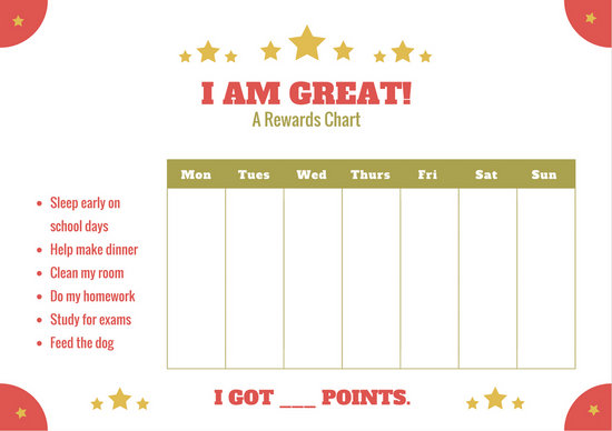 Red and Green Primary School Behavior Reward Chart - Templates by Canva - child reward chart template
