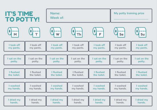 Blue and Gray Potty Training Reward Chart - Templates by Canva - potty training chart