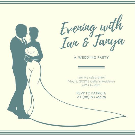 Cream Green Elegant Wedding Reception Invitation - Templates by Canva