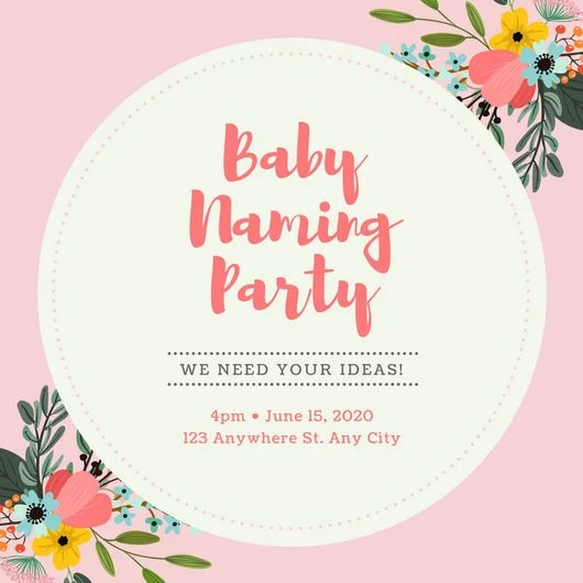 Pink Baby Naming Ceremony Invitation - Templates by Canva