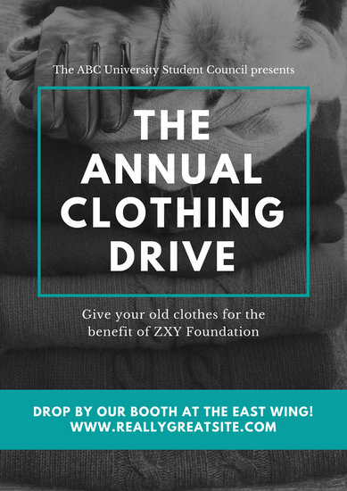 Green Framed Clothes Stack All Donation Poster - Templates by Canva - clothing drive flyer template