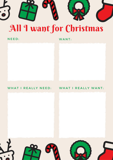 Cream Illustrated Icons Christmas Wish List - Templates by Canva