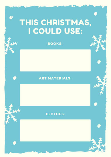 Blue and Off White Bordered Snowflakes Christmas Wish List