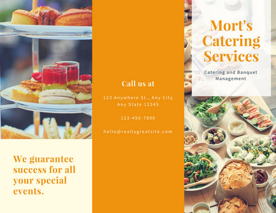 Orange Food Photo Catering Trifold Brochure - Templates by Canva - food brochure