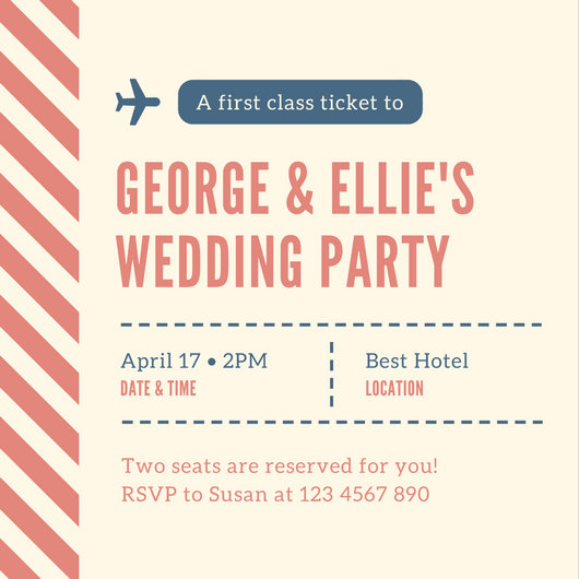 Pink Plane Ticket Wedding Invitation - Templates by Canva - plane ticket invitation template