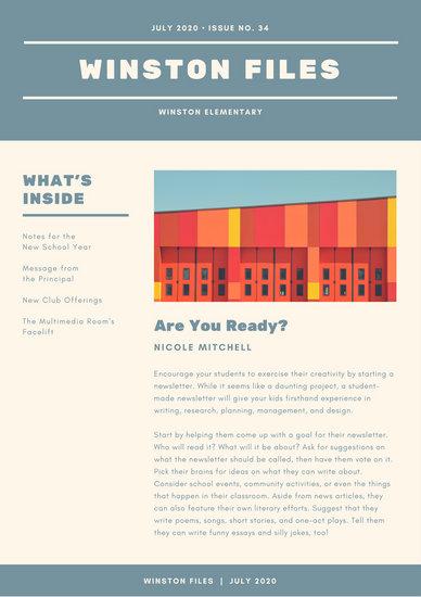 Blue and Cream Simple Elementary School Newsletter - Templates by - school newsletter templates