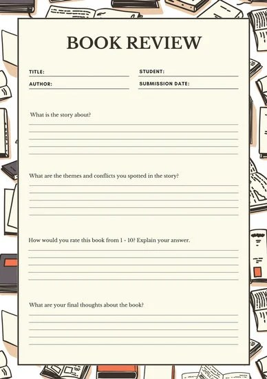 Cream Brown Middle School Book Review Worksheet - Templates by Canva - book review template