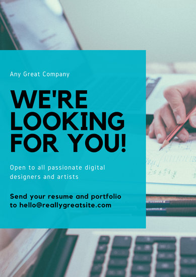 Blue Laptop Photo Background Hiring Poster - Templates by Canva