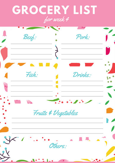Pink Floral Pattern Grocery List - Templates by Canva - grocery list spreadsheet