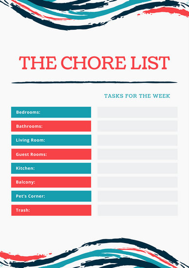 Red and Blue Brush Strokes Chores List - Templates by Canva