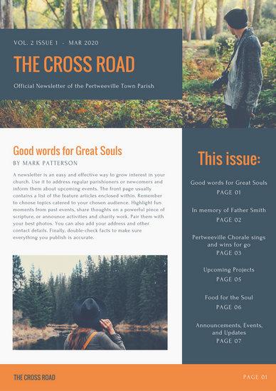 Dark Blue and Orange Nature Photo Church Newsletter - Templates by - church newsletter