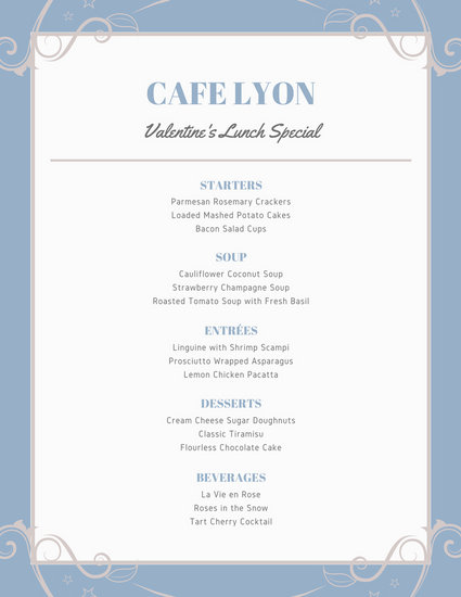 Blue and Violet Swirl Valentine\u0027s Day Food and Drink Menu - valentines day menu template