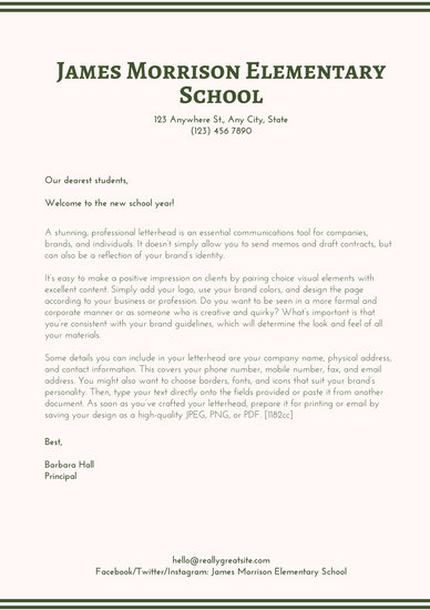 Cream Green Simple Welcome Letter to Students Letterhead - Templates