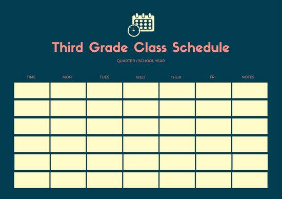 Blue Yellow Simple Calendar Vector Class Schedule - Templates by Canva - Calendar Class