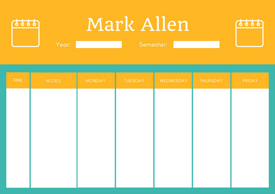 Teal and Orange Class schedule - Templates by Canva - weekly class schedule template