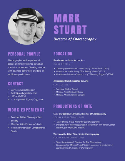 Purple Theater Choreographer Dancer Resume - Templates by Canva - dance resume templates