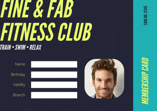 Black Teal Neon Yellow Gym Membership Fitness ID Card - Templates by