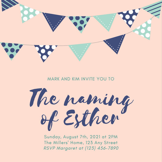 Pink and Blue Buntings Baby Naming Ceremony Invitation - Templates