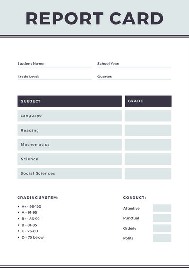 Gray Simple Homeschool Report Card - Templates by Canva - homeschool report card template