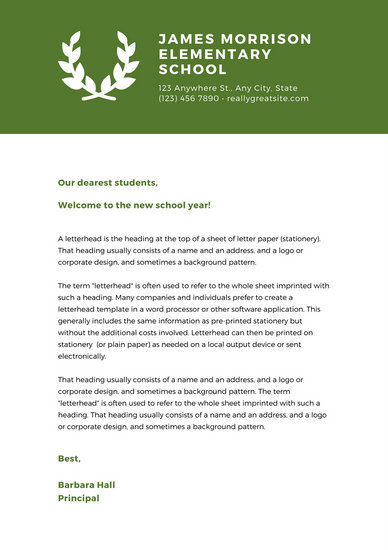 Green Laurel Welcome letter to parents School Letter - Templates by