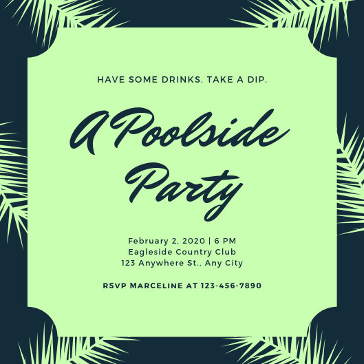 Blue and Green Tropical Pool Party Invitation - Templates by Canva