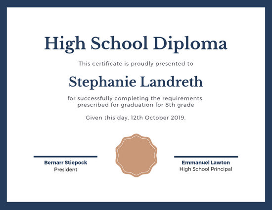 Gold and Red Bordered High School Diploma Certificate - Templates by