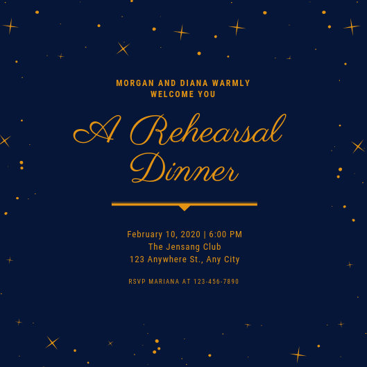 Blue Gold Stars Elegant Rehearsal Dinner Invitation - Templates by Canva