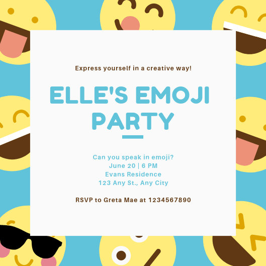 Blue and Yellow Smiley Emoji Party Invitation - Templates by Canva