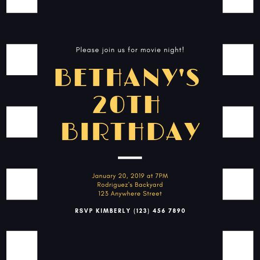 Black Gold Film Movie Night Invitation - Templates by Canva