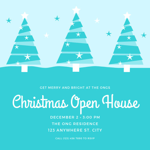 Blue Christmas Open House Invitation - Templates by Canva