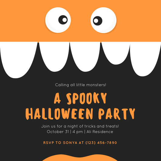 Black Monster Themed Kids Party Halloween Invitation - Templates by