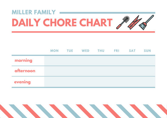 Red and Blue Clothes Clip and Mop Illustration Monthly Chore Chart