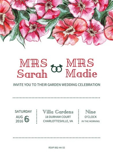 Lesbian Garden Wedding Invitation - Templates by Canva