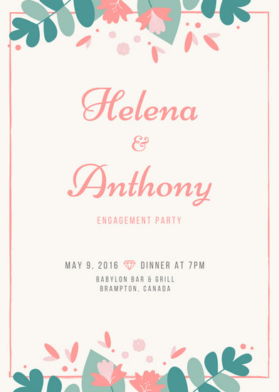 Floral Wedding Engagement Party Invitation - Templates by Canva