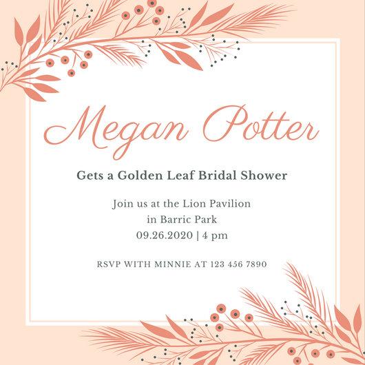 Peach Fall Bridal Shower Invitation - Templates by Canva