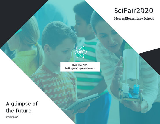 Blue White Black Science Fair Trifold Brochure - Templates by Canva